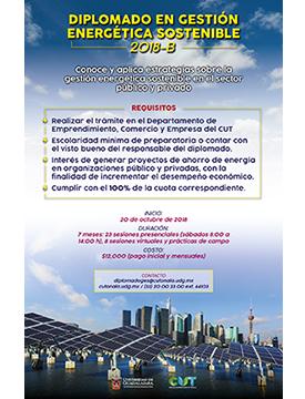 Cartel informativo sobre el Diplomado en Gestión Energética Sostenible, Inicio: 20 de octubre, CUTonalá