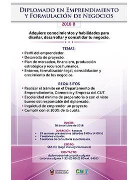 Cartel informativo sobre el Diplomado en Emprendimiento y Formulación de Negocios, Inicio: 20 de octubre, CUTonalá