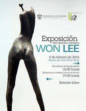 Cartel con información y escultura de Won Lee