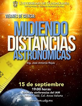 Cartel de invitación a los viernes de ciencia con la Conferencia: Midiendo distancias astronómicas, que Imparte José Antonio Rojas, el 15 de septiembre a las 19:00 horas, en el Salón de conferencias del Instituto de Astronomía y Meteorología del CUCEI.