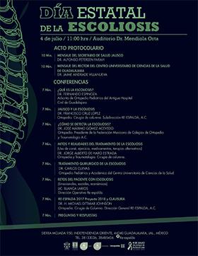 Cartel informativo sobre el Día Estatal de la Escoliosis, el día 4 de julio en el Auditorio Dr. Mendiola Orta, CUCS