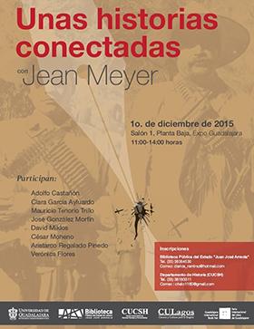 Cartel con información de coloquio de Jean Meyer