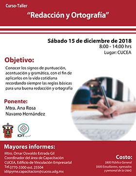 Cartel informativo sobre el Curso-taller: Redacción y ortografía, el 15 de diciembre, de 8:00 a 14:00 h. en el Centro Universitario de Ciencias Económico Administrativas