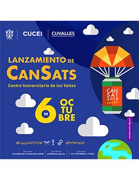 Cartel informativo sobre el Lanzamiento de CanSats, el 6 de octubre en el Centro Universitario de los Valles