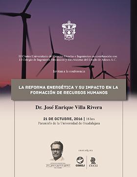 Cartel con texto y al fondo generadores de energía eólica