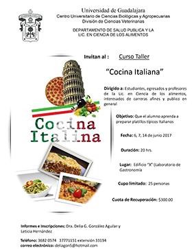 Curso taller cocina italiana universidad de guadalajara for Clases cocina italiana