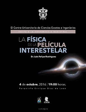 Cartel con texto de Conferencia magistral: La física de la película interestelar