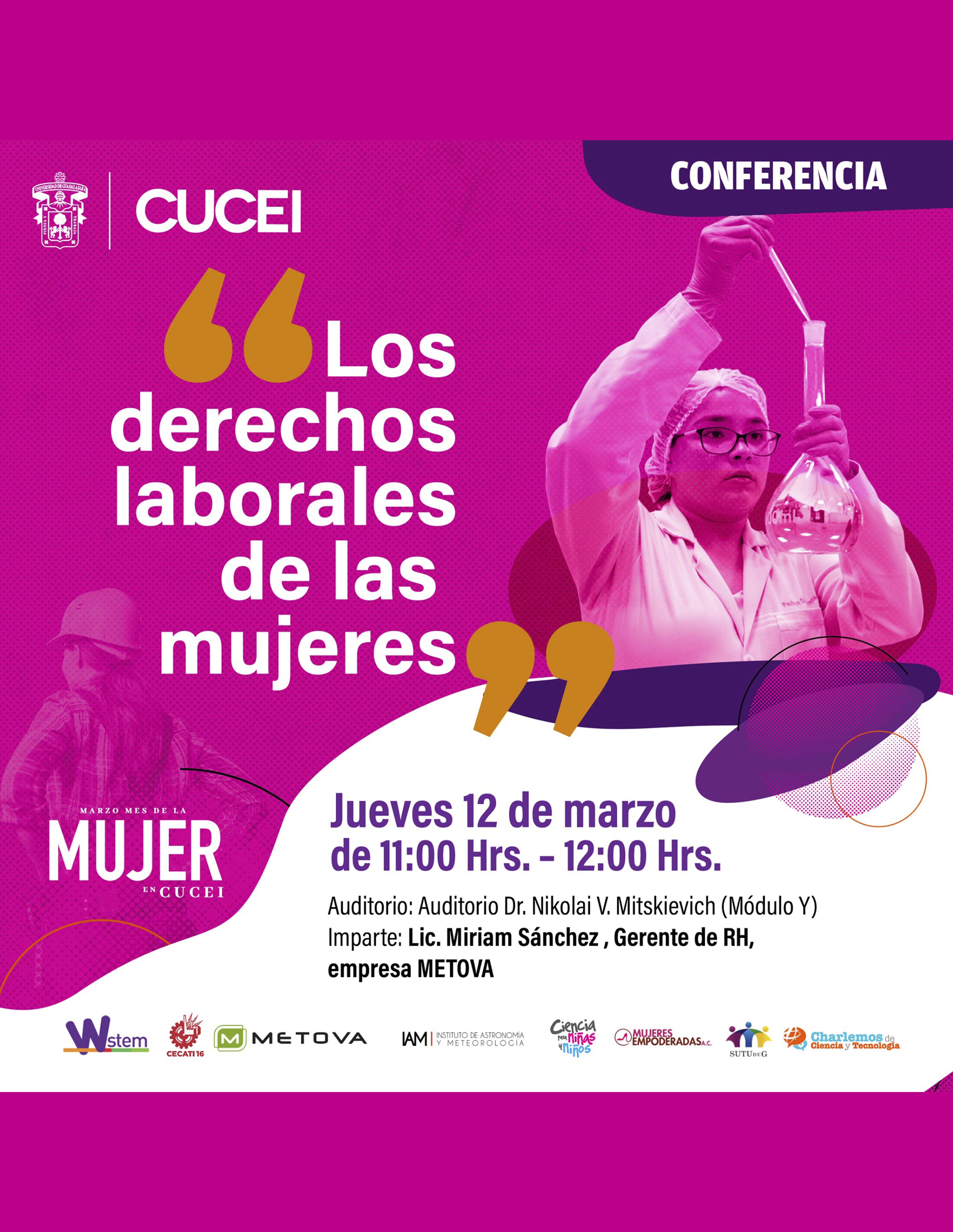 Conferencia: Los derechos laborales de las mujeres a llevarse a cabo el 12 de marzo a las 11:00 horas.