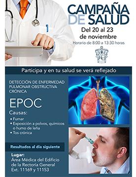 Cartel informativo sobre la Campaña de salud, Del 20 al 23 de noviembre, de 8:00 a 13:30 h. en el Área Médica del Edificio de Rectoría General