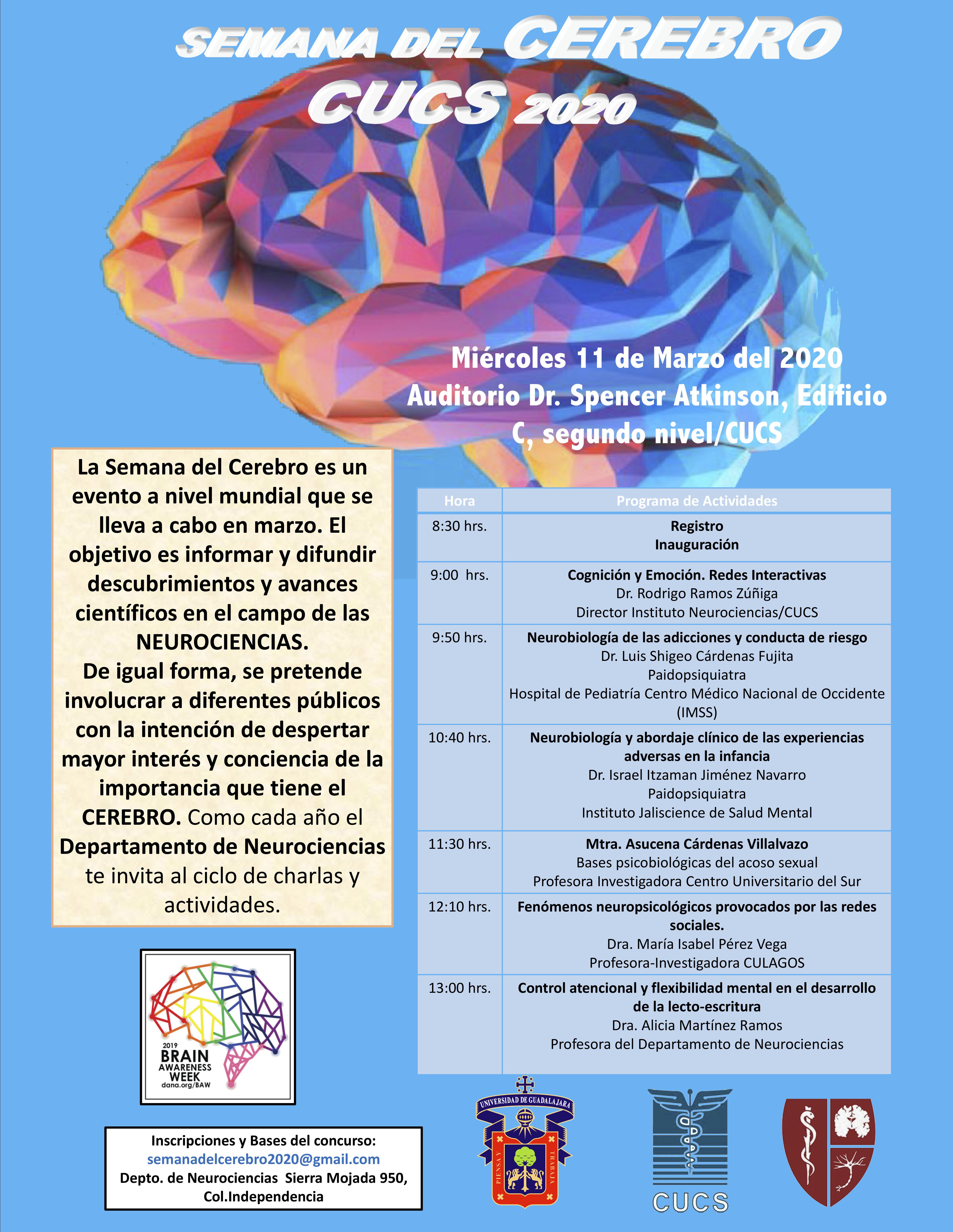 Semana del Cerebro CUCS 202 a llevarse a cabo el 11 de marzo a las 8:30 horas.