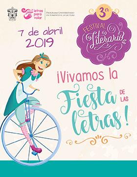 Cartel informativo sobre el 3er. Festival Literario ¡Vivamos la Fiesta de las Letras! Participa en el desfile y concurso de carritos, el 7 de abril, 10:00 h. en la Rambla Cataluña