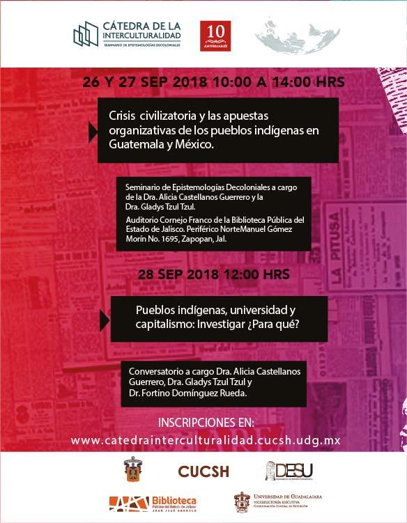Cartel informativo sobre el Seminario de Epistemologías Decoloniales, el 26 y 27 de septiembre, de 10:00 a 14:00 h. en el  Auditorio Cornejo Franco de la Biblioteca Pública del Estado de Jalisco.