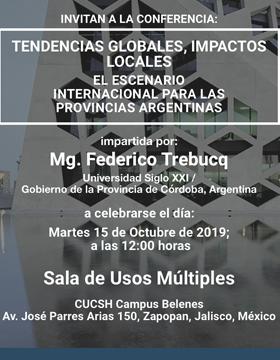Cartel para anunciar la Conferencia Tendencias globales, impactos locales