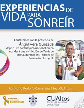 Cartel informativo para promocionar la conferencia Experiencias para sonreír a desarrollarse el 11 de septiembre en el CUAltos
