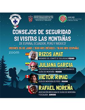 Charla: Consejos de seguridad si visitas las montañas de España, Perú, Ecuador y México