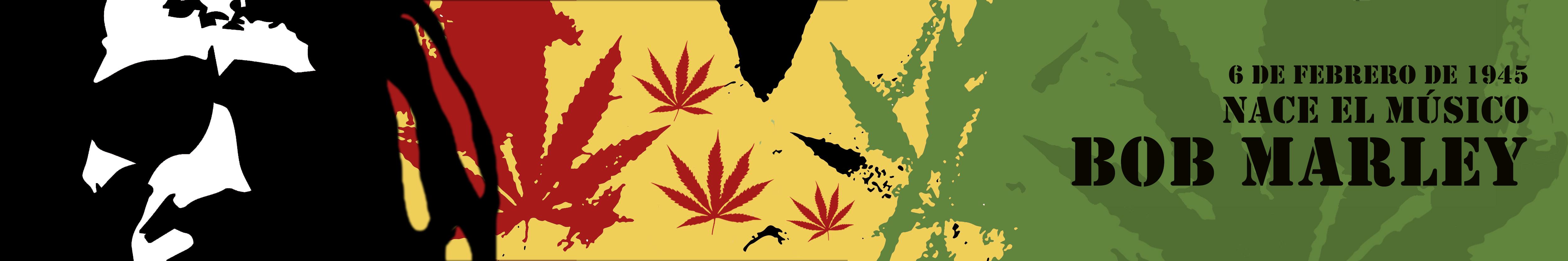 Ilustración con retratos de Bob Marley con colores de la bandera de Jamaica