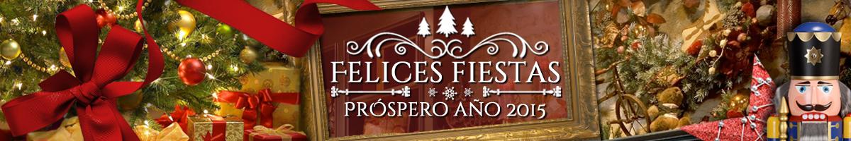Collage con elementos navideños y el mensaje Felices Fiestas, Enlace al articulo espacial.
