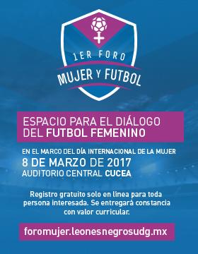 Cartel con texto del lugar y fecha del 1er. Foro Mujer y Futbol