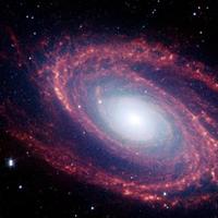 Parte del universo en donde se puede apreciar una galaxia, en el centro hay una estrella blanca gigante y su espiral es roja