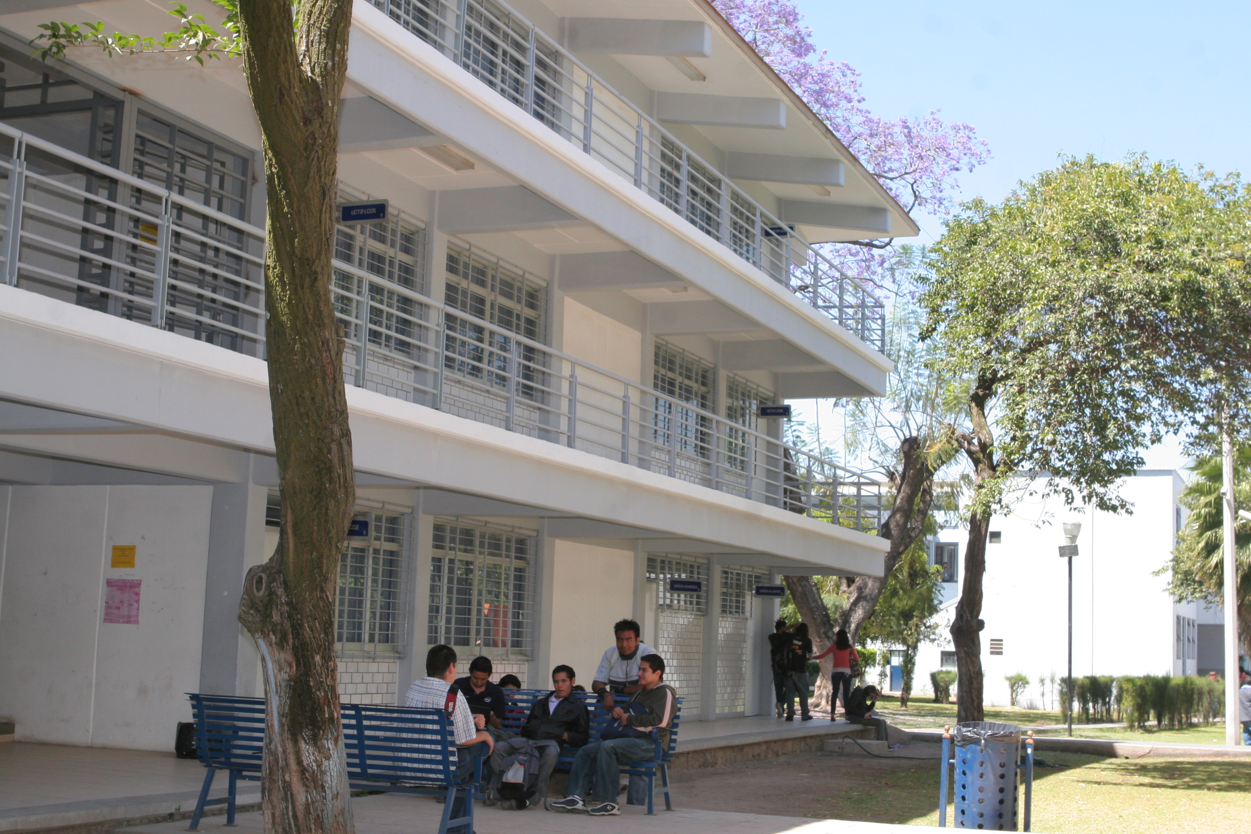 alumnos en instalaciones universitarias