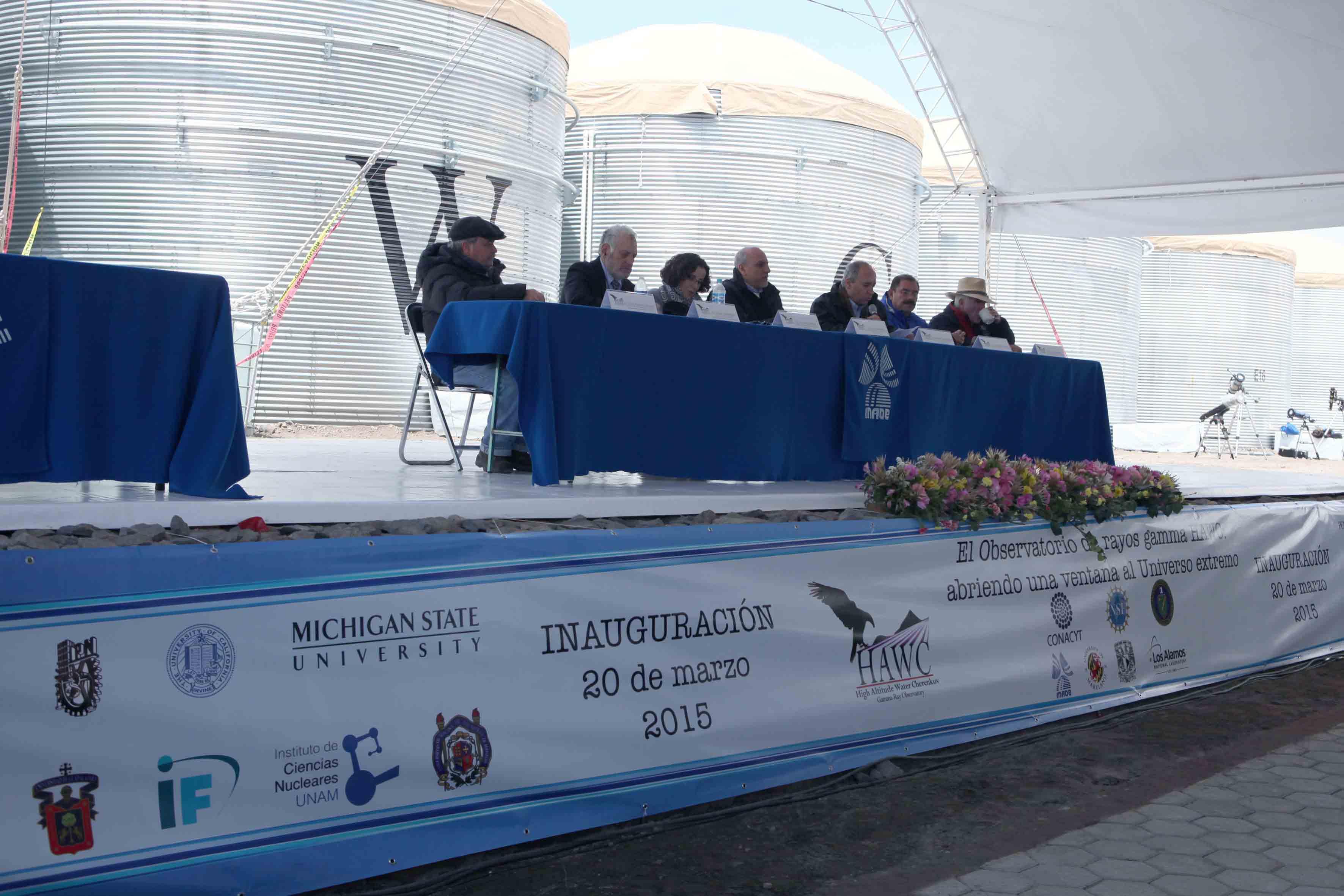 Miembros del presidium de la inaguración del observatorio de rayos gamas