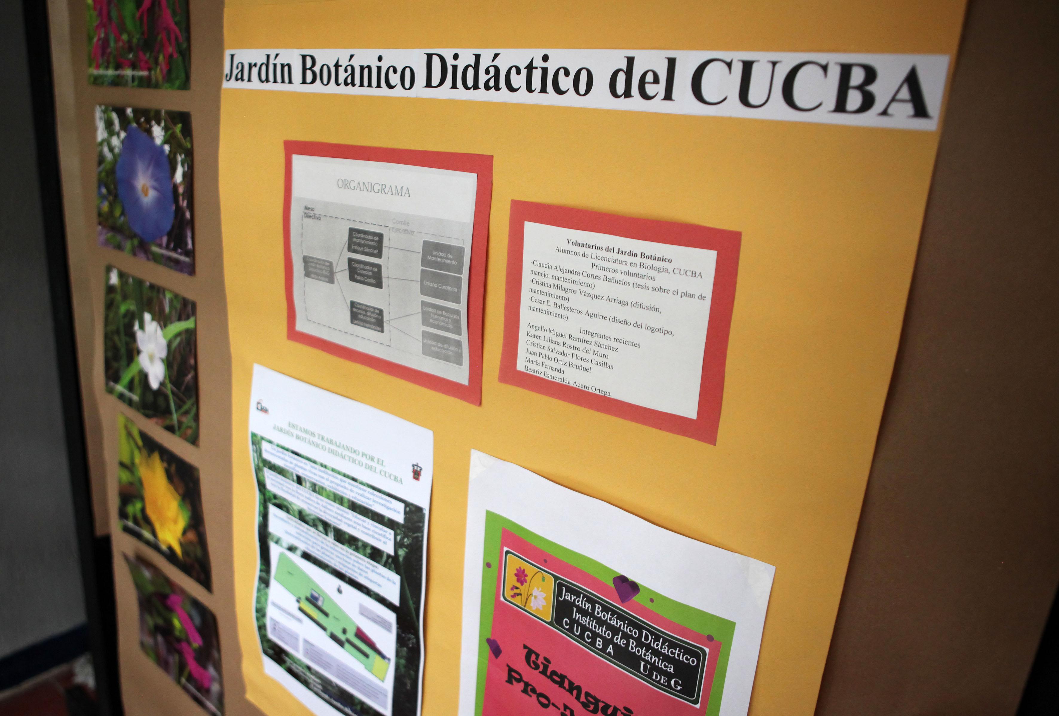 Pared con diferentes carteles informativos sobre los jardines botánicos didácticos