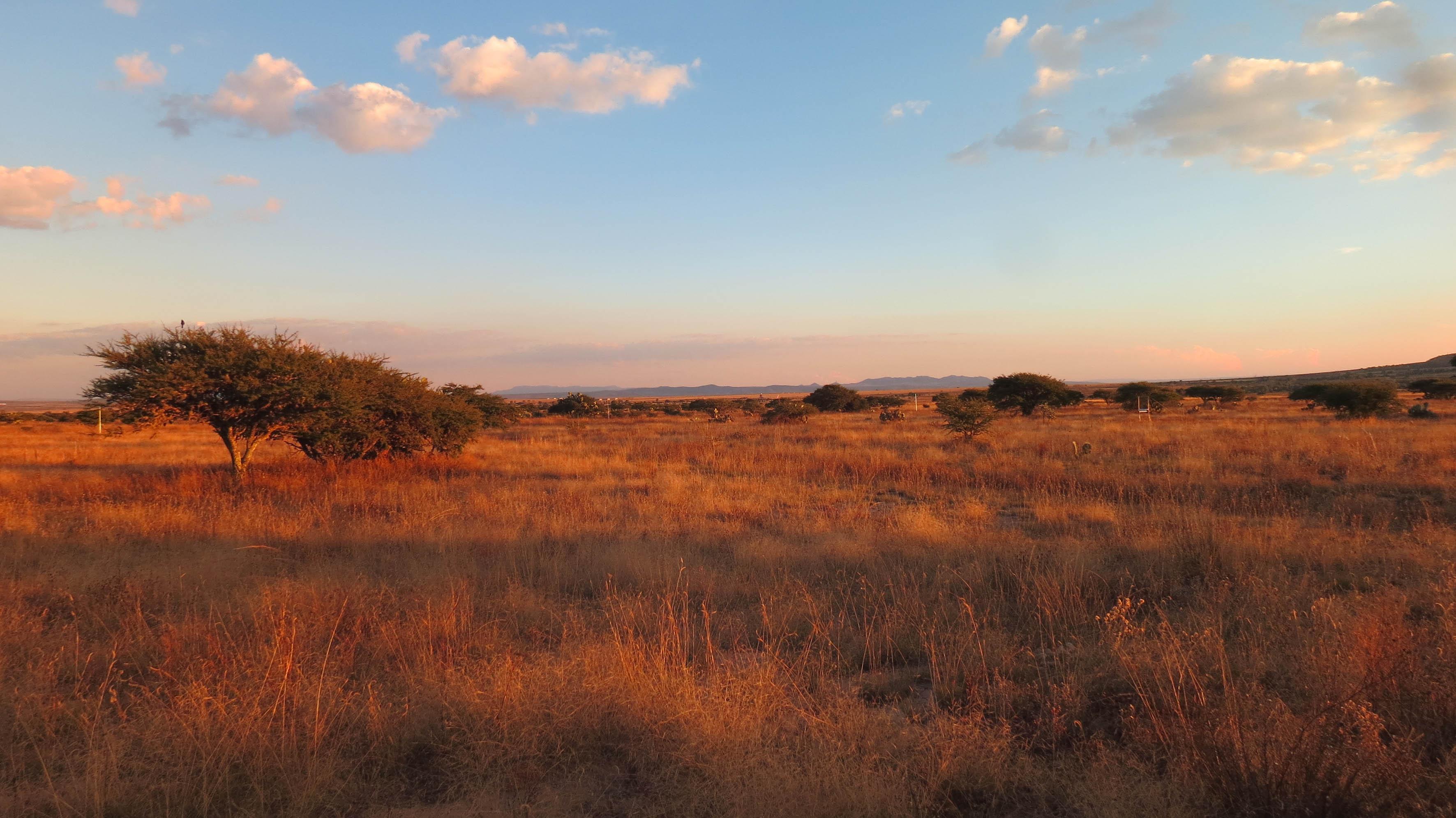 Atardecer en un cerro con un paisaje rojizo