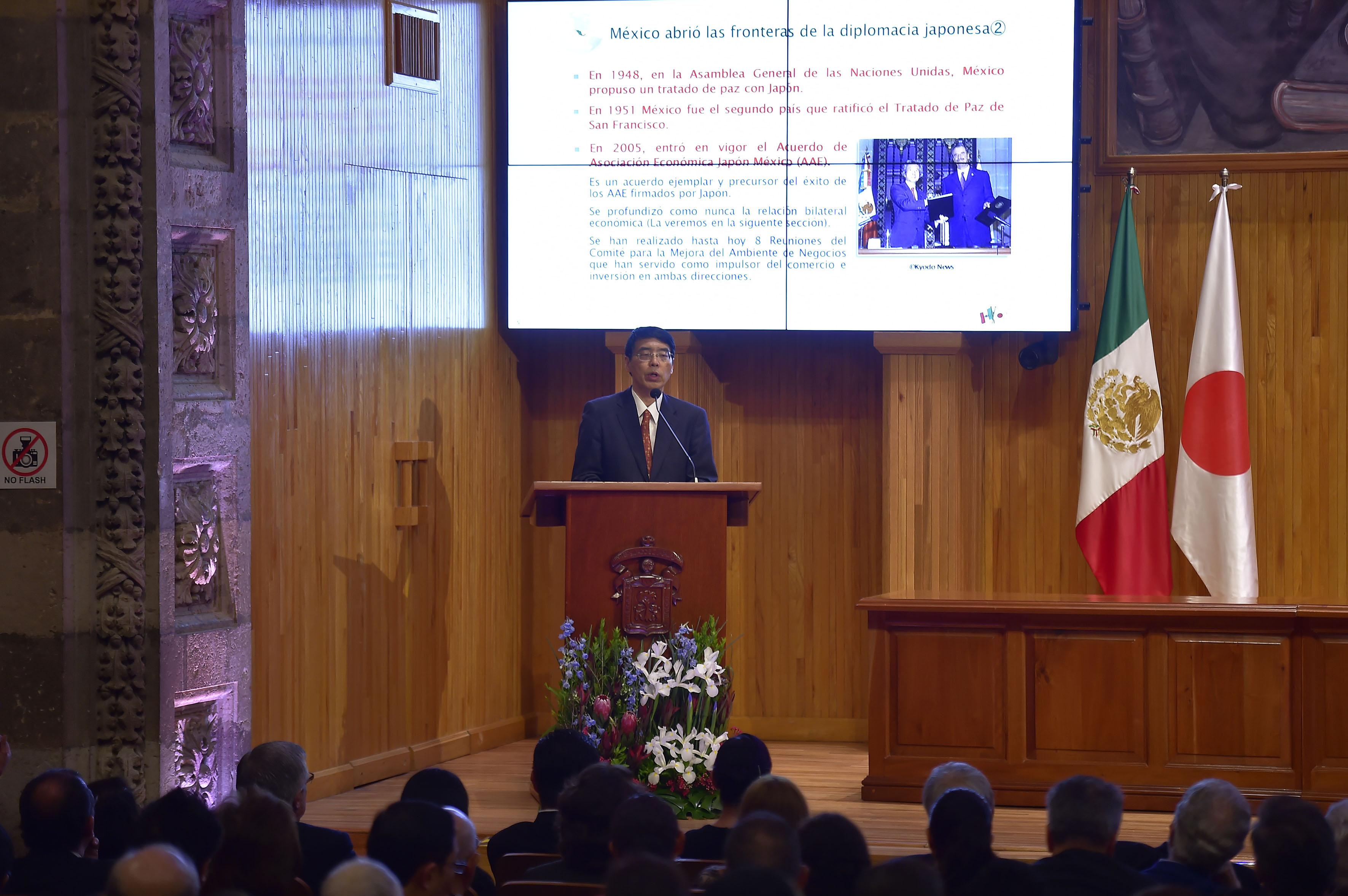 Embajador de Japón en México, Akira Yamada haciendo uso de la palabra