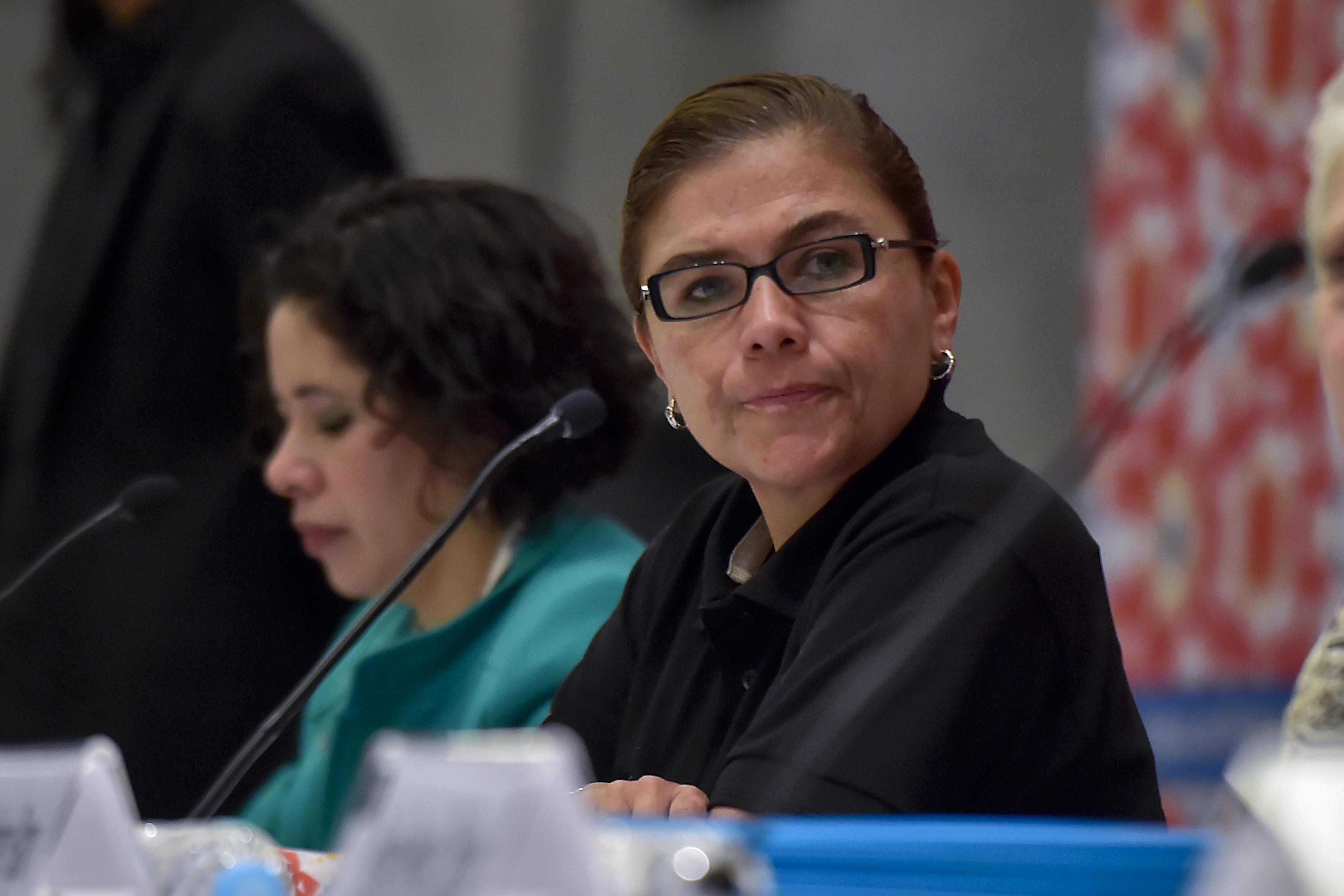 Angélica Vázquez del Mercado, miembro panelista participante en ceremonia.