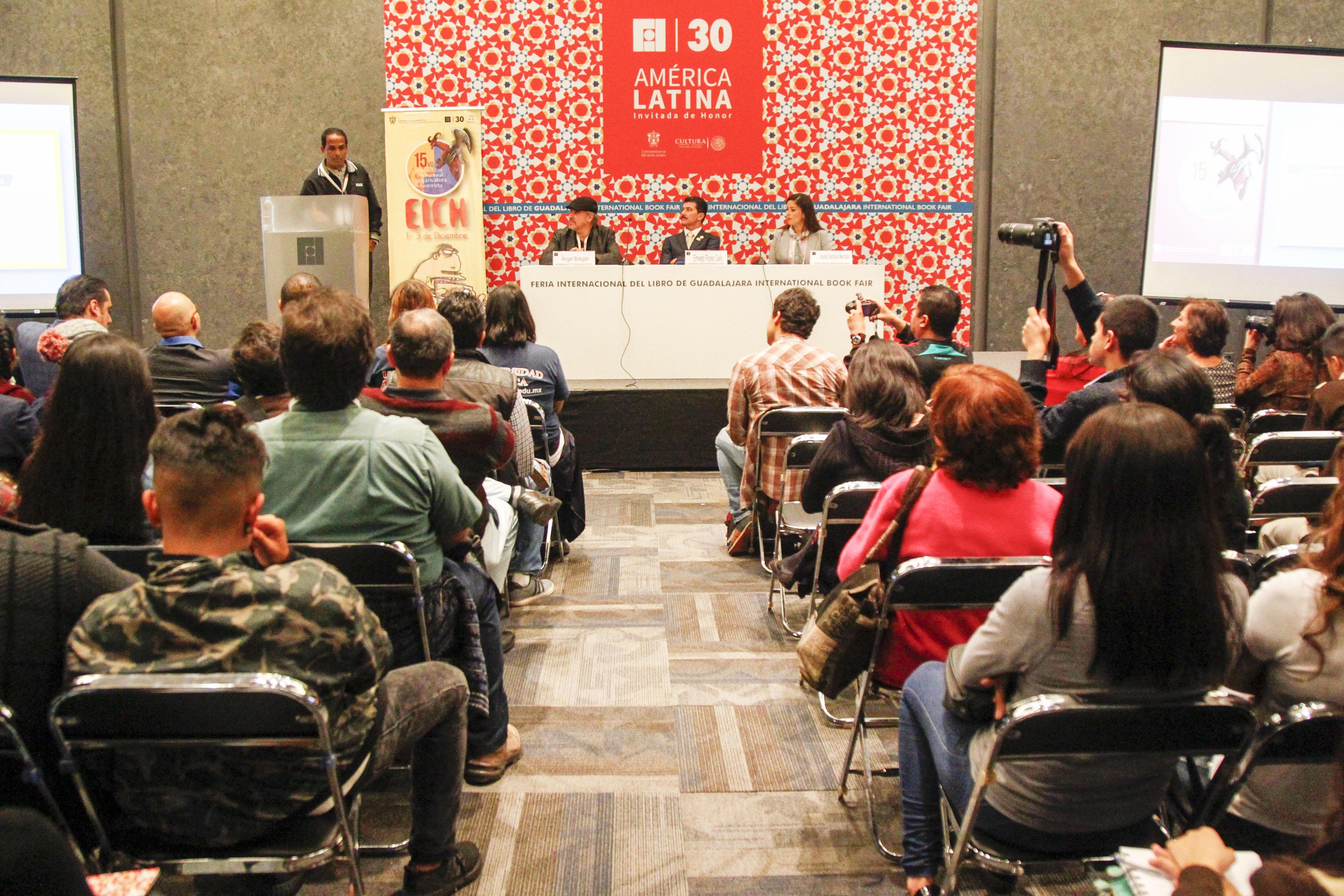 Panelista participantes en la inaguración del 15vo. encuentro internacional de caricatura e historieta.