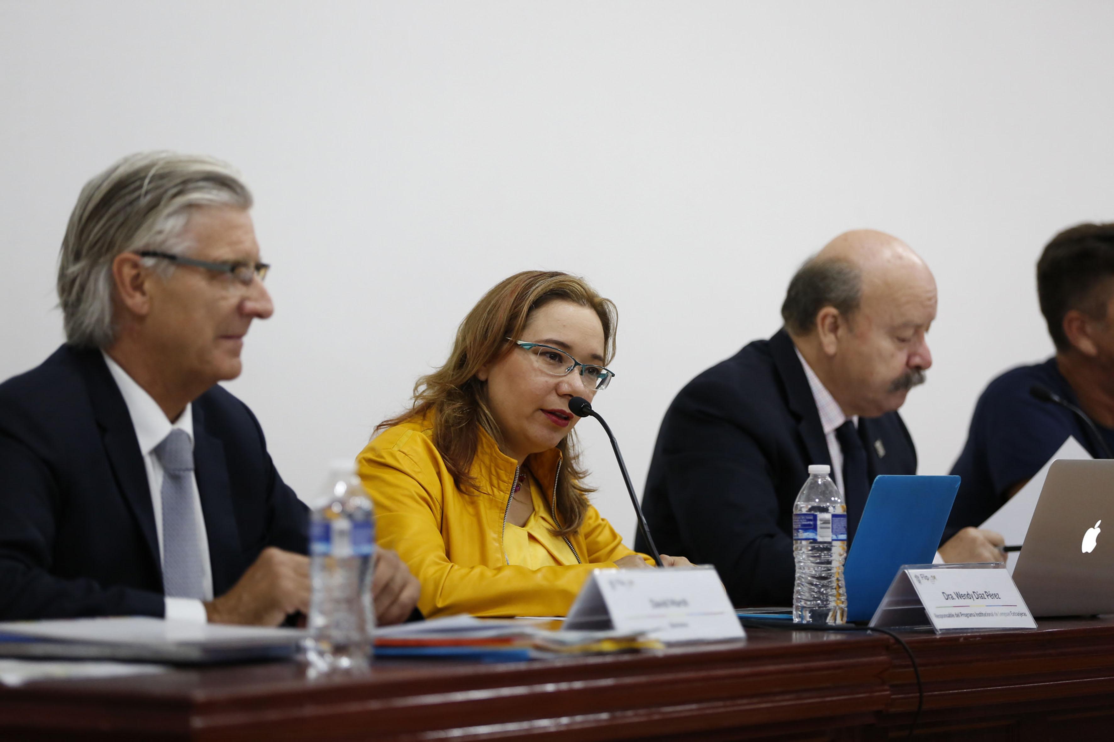 Doctora Wendy Díaz Pérez, responsable del Programa Institucional de Lenguas Extranjeras, con micrófono en mesa del panel, haciendo uso de la palabra.