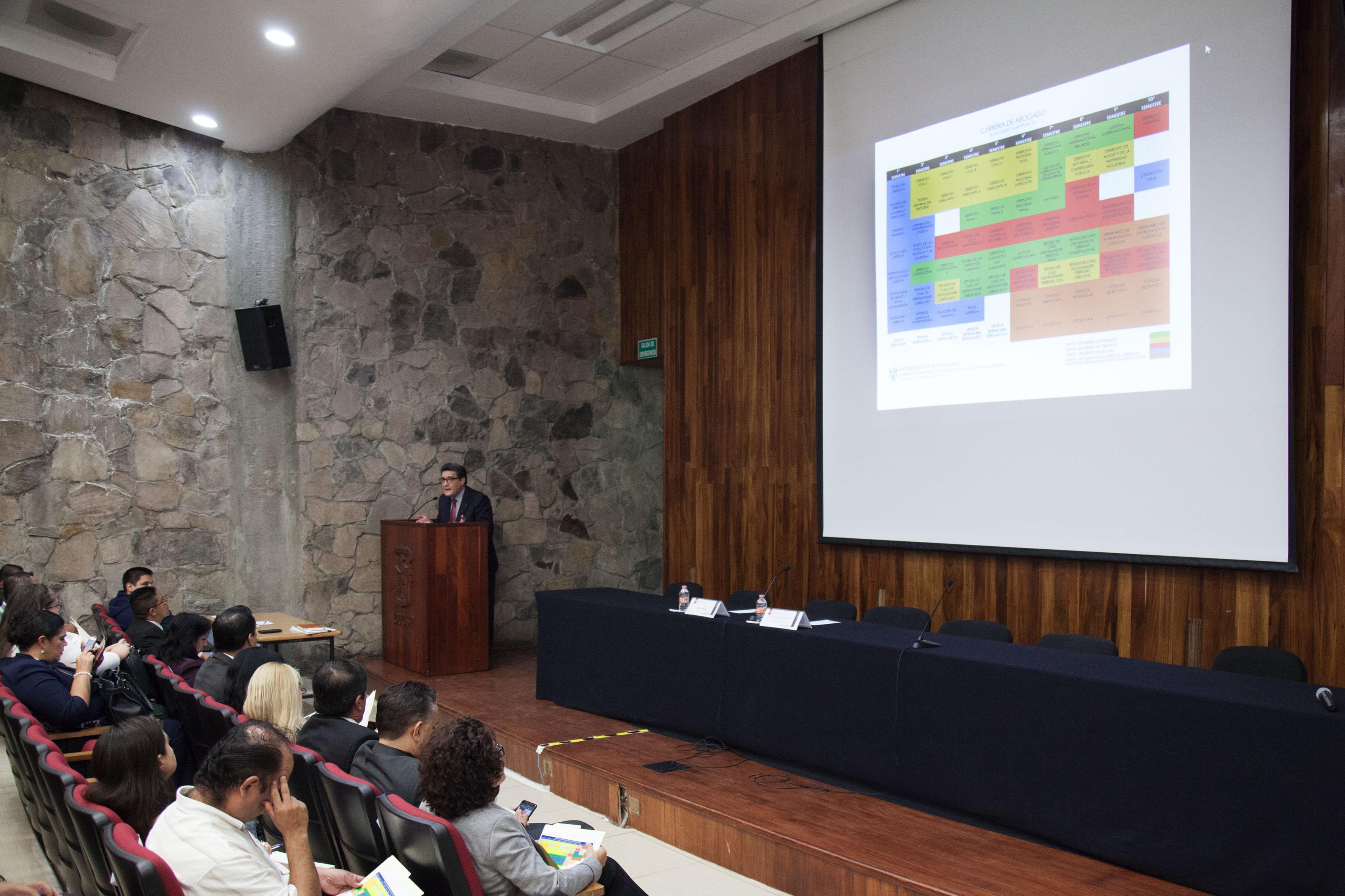 Doctor Carlos Ramiro Ruiz Moreno, jefe de Departamento de Disciplinas Afines al Derecho, del Centro Universitario de Ciencias Sociales y Humanidades (CUCSH), presentando la malla curricular.