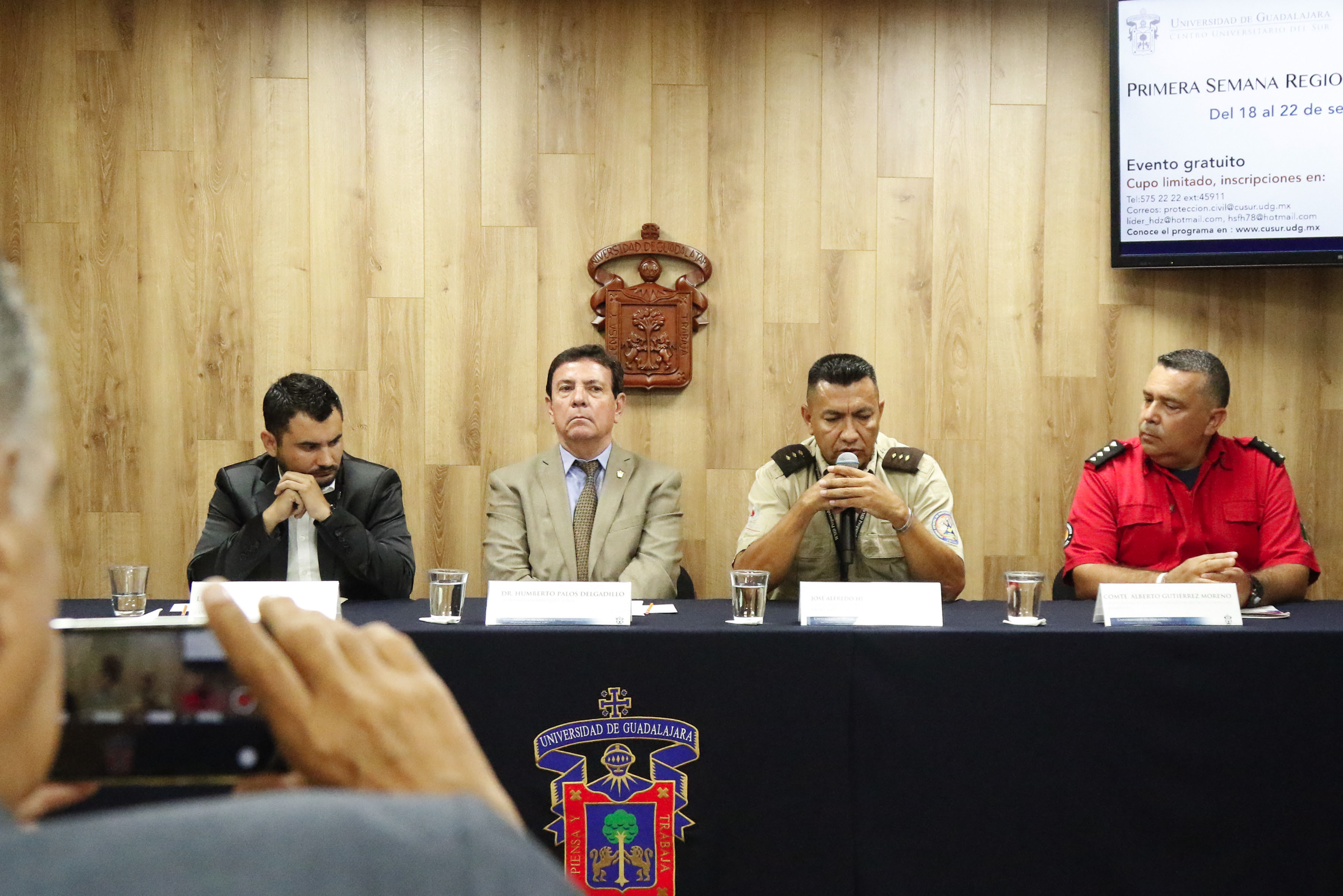 Rueda de prensa para anunciar que la  Universidad de Guadalajara (UdeG) se suma a los dos macro simulacros que se realizarán en los 125 municipios de Jalisco el 19 de septiembre, fecha en que se conmemora el Día Nacional de Protección Civil.