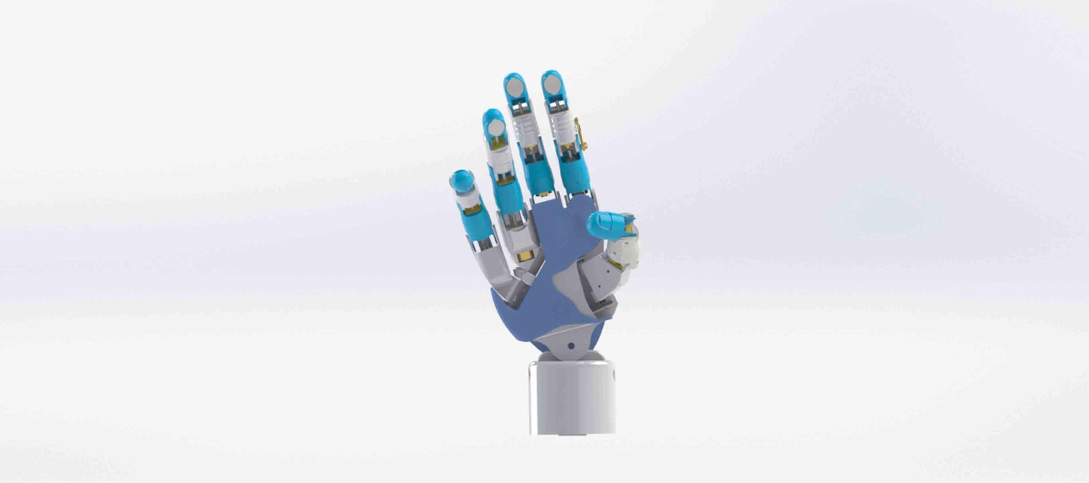 Diseño de prótesis robótica de mano, mostrando su flexibilidad al doblar su dedo pulgar, mientras sus demás dedos se encuentran extendidos.
