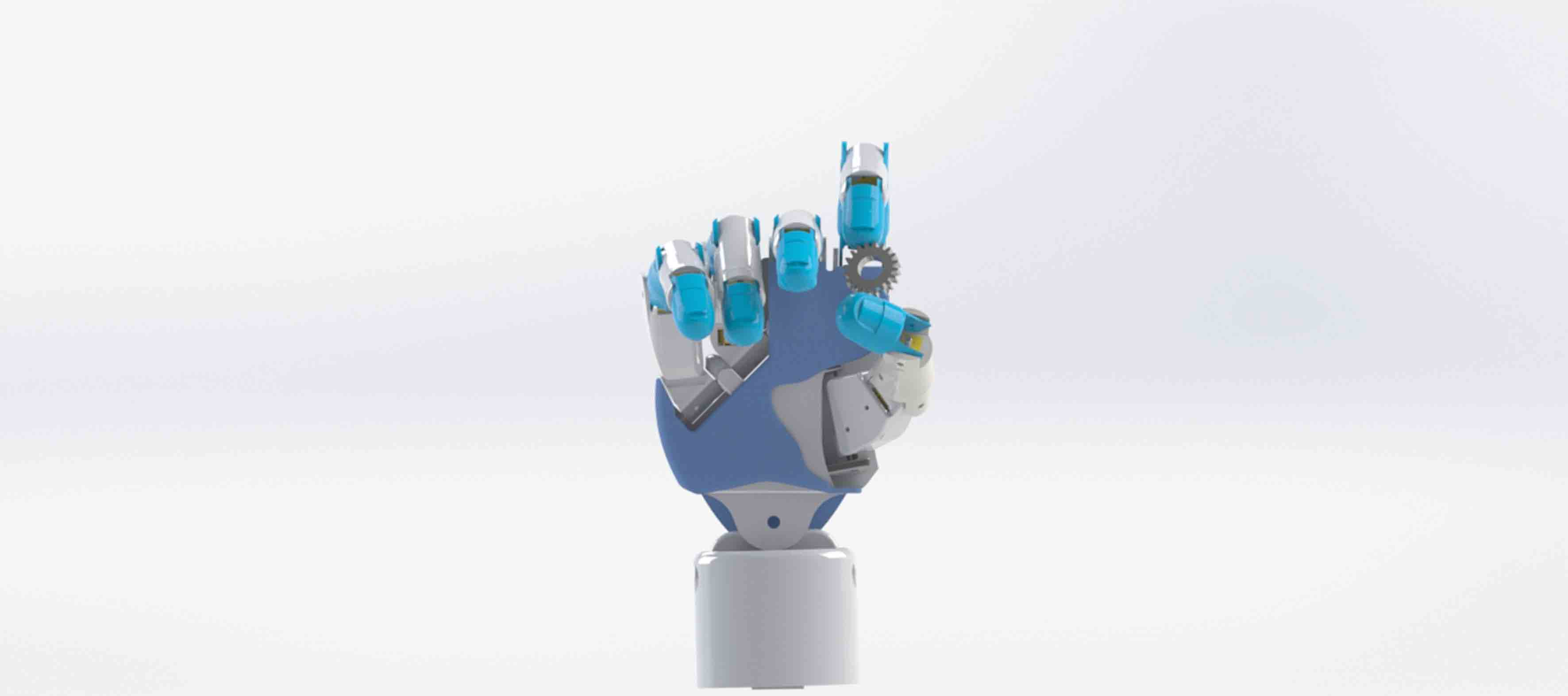 Diseño de la prótesis robótica de mano, mostrando su flexibilidad al sujetar un engrane pequeño y redondo entre sus dedos pulgar y anular.