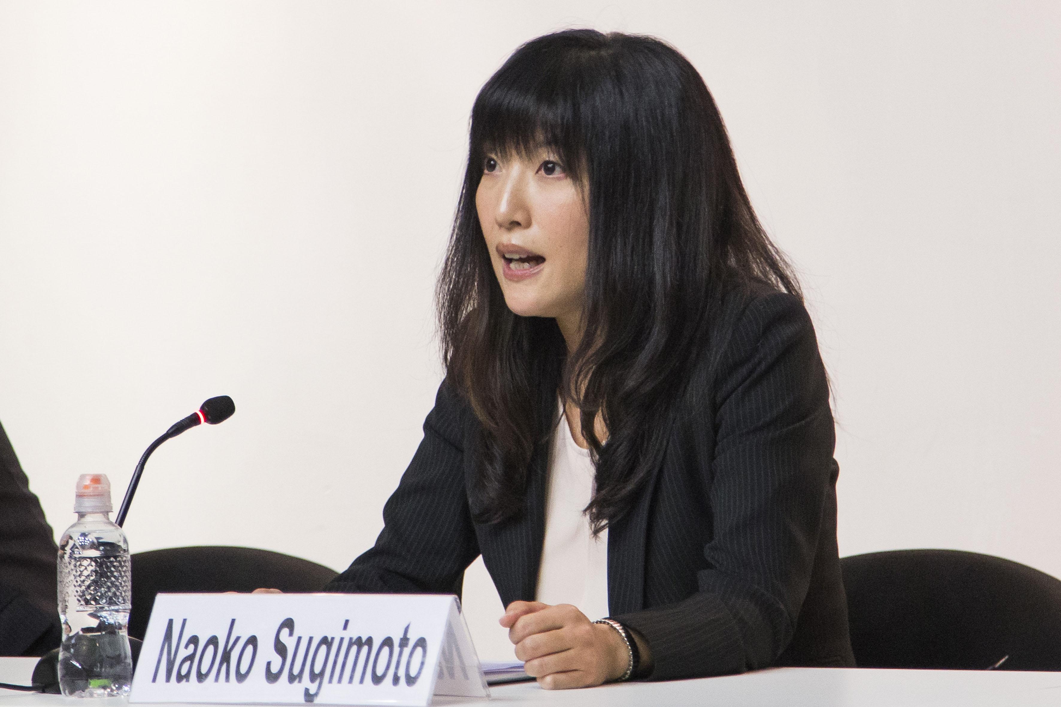 Licenciada Naoko Sugimoto, directora de la Fundación Japón en México, panelista participante en el evento, haciendo uso de la palabra.