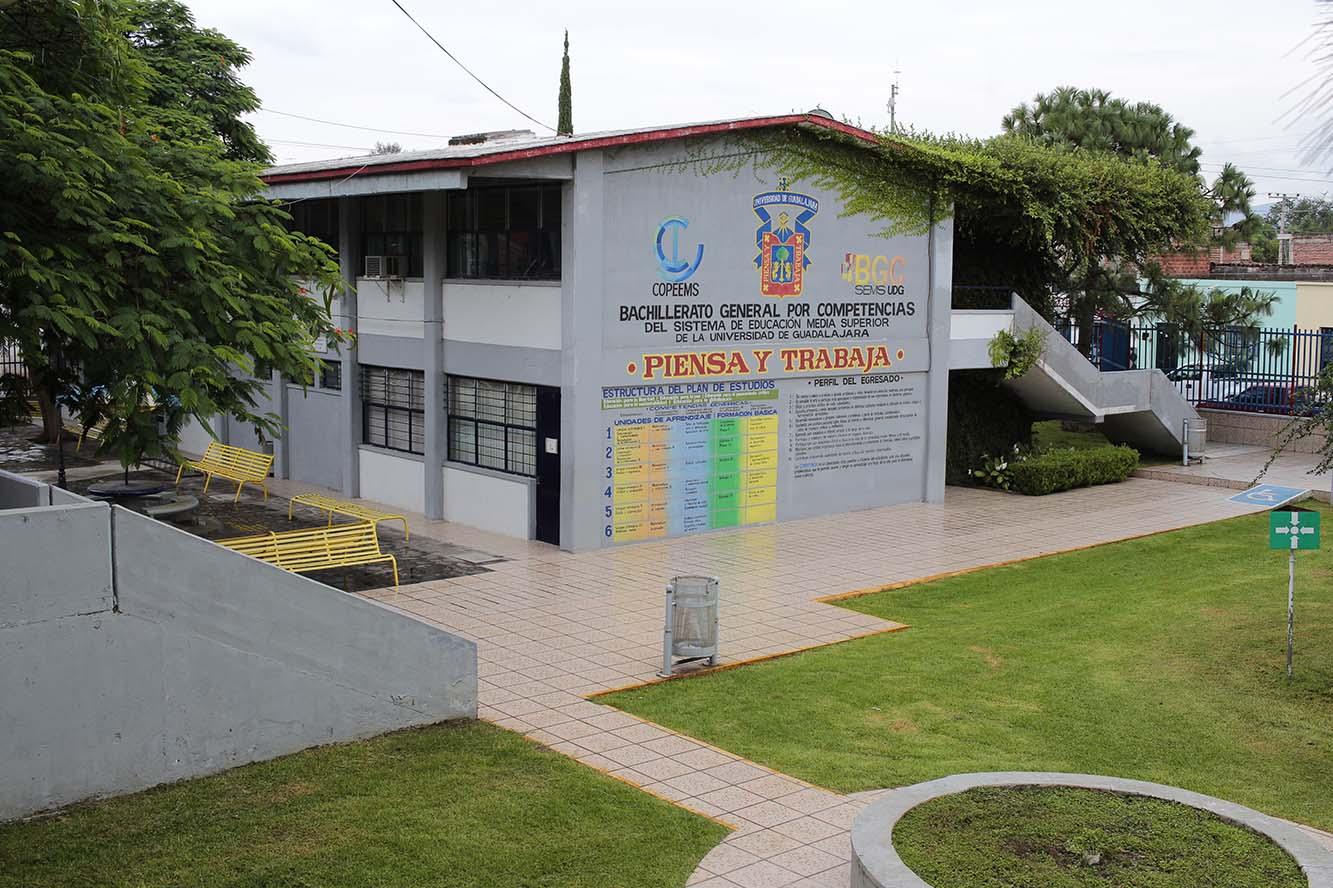 Patio principal de la Preparatoria de Sayula de la Universidad de Guadalajara (UdeG).