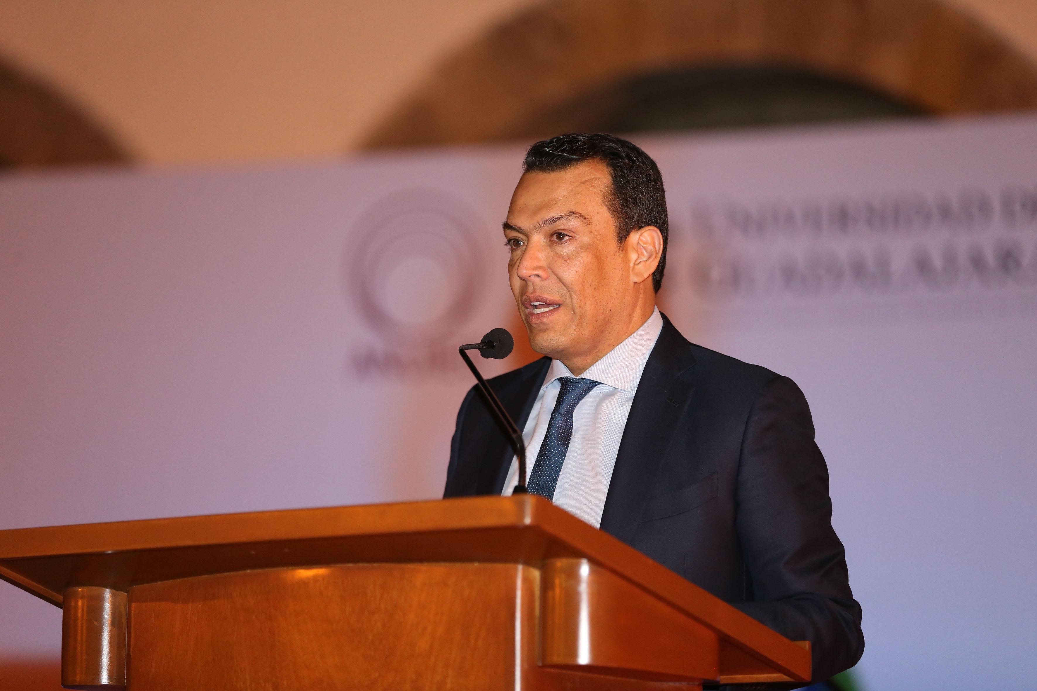 Secretario de Gobierno de Jalisco, maestro Roberto López Lara, haciendo uso de la palabra