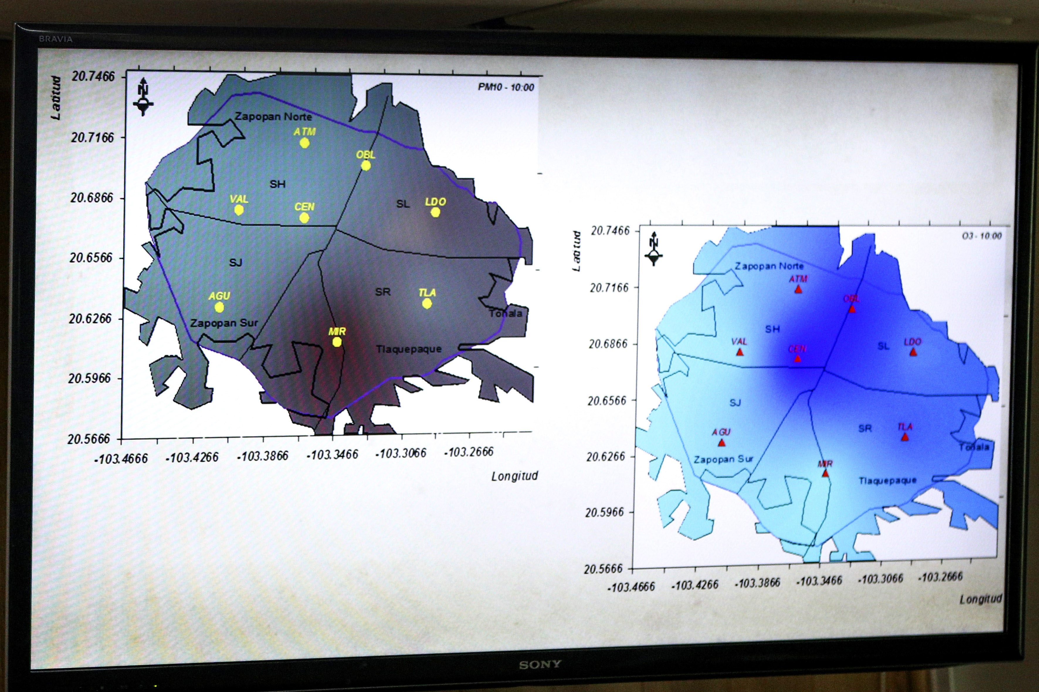 Mapa de las zonas climatologias de la zona metropolitana