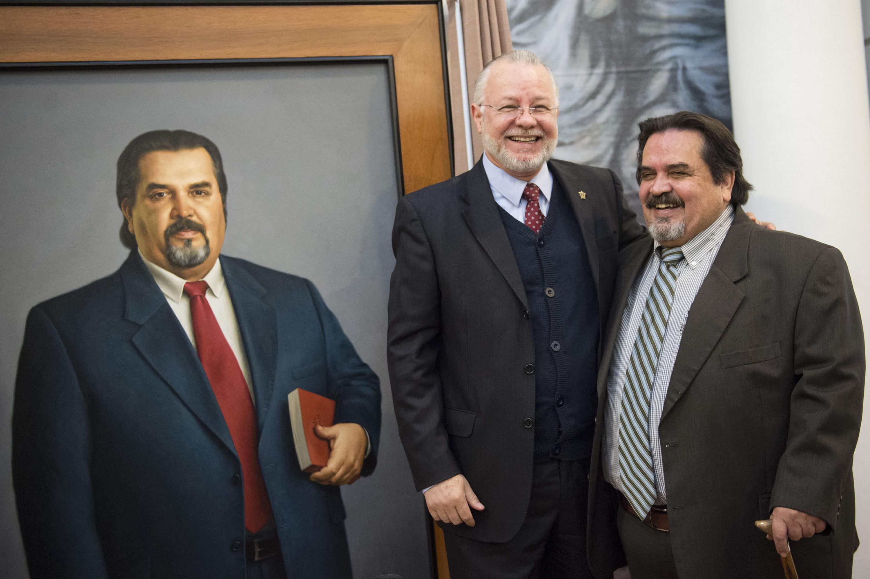 Licenciado José Trinidad Padilla López y Doctor Marco Antonio Cortés Guardado, exrectores de la Universidad de Guadalajara