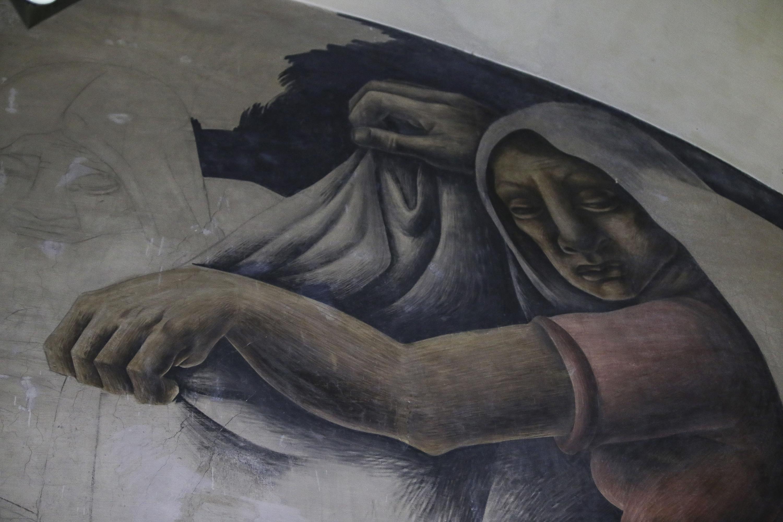 """Mural del muro norte """"Nacimiento"""" de la Biblioteca Iberoamericana """"Octavio Paz""""."""
