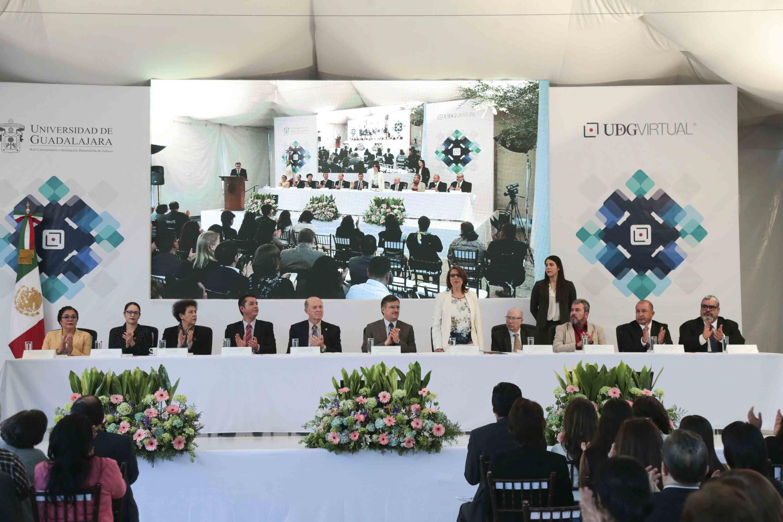Presentación de la Rectora del Sistema de Universidad Virtual, la doctora María Esther Avelar Álvarez, durante ceremonia de su informe de actividades 2017.