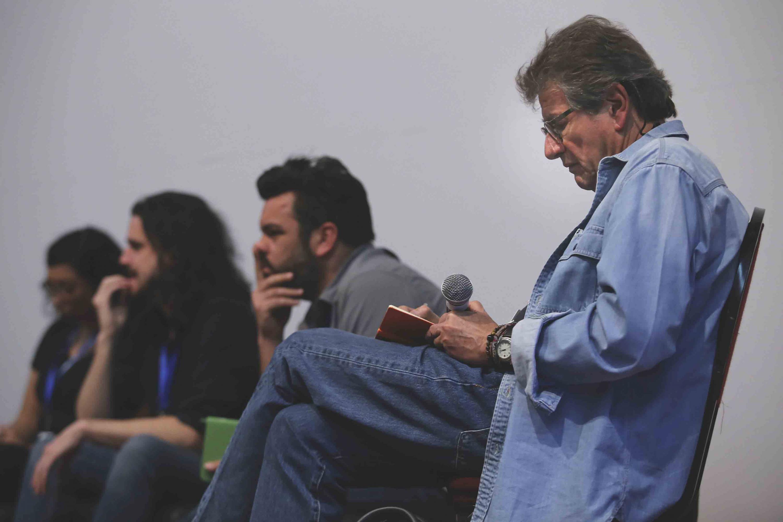 Miembros del presídium y destacados en el área cinematográfica, fungiendo como críticos en el DocuLab (Laboratorio de Documentales).