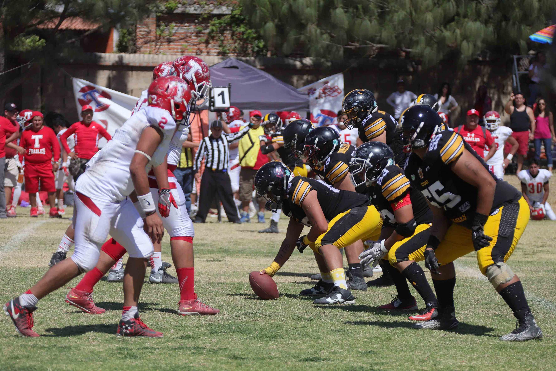 Los leones negros en linea formación antes de iniciar una ofensiva contra sus rivales