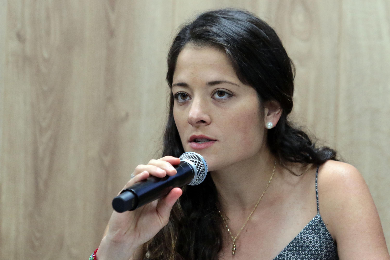 Licenciada Andrea Blanco Calderón, directora de Fomento al Empleo y Emprendimiento del Ayuntamiento de Zapopan, haciendo uso de la voz.