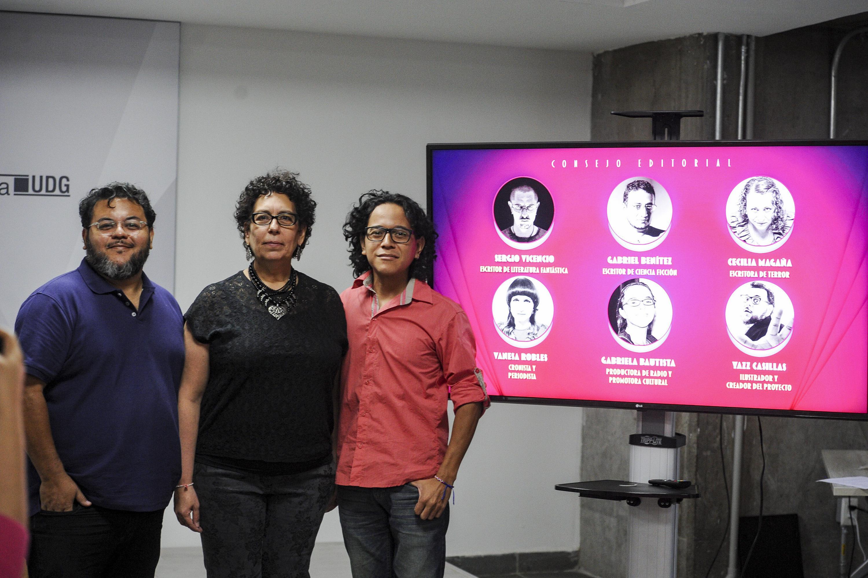Yazz Casillas, Sayri Karp Mitastein y Metztli Ortega durante la presentacion