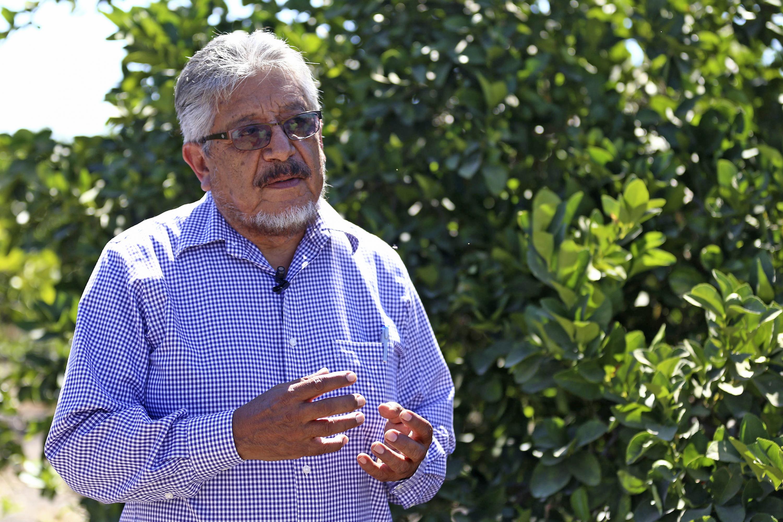 Doctor Víctor Manuel Medina Urrutia, investigador del Departamento de Producción Agrícola, del Centro Universitario de Ciencias Biológicas y Agropecuarias de la UdeG, en entrevista, en  instalaciones del campo de sembradío.