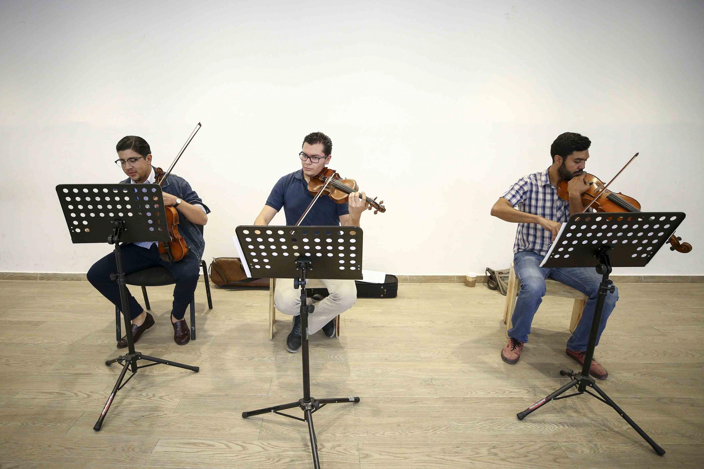 Miembros de la orquesta tocando el Violín