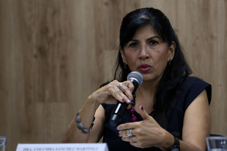 Investigadora del Departamento de Clínicas de la Salud Mental, doctora Columba Sánchez Martínez, hablando frente al micrófono durante durante rueda de prensa