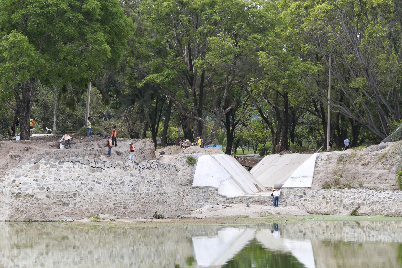 Obras del  vaso regulador del Parque de la Liberación.
